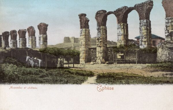 Remains of the Aqueduct and the Castle at the site of Ancient Ephesus, Turkey. Date: circa 1904