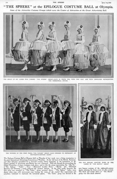 Examples of costumes seen at the Epilogue Ball, held at the close of the International Advertising Convention at Olympia in July 1924. The women involved were dressed as various well-known weekly magazines of the time including The Sphere (top pic)