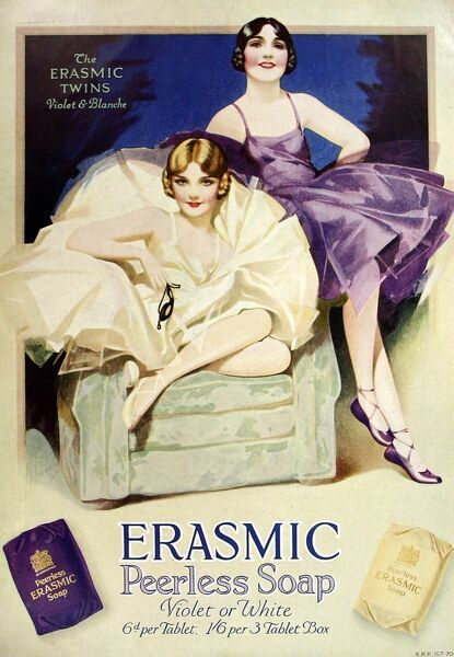 Advertisement from 1929 for 'Erasmic' soap featuring 'The Erasmic Twins', Violet and Blanche
