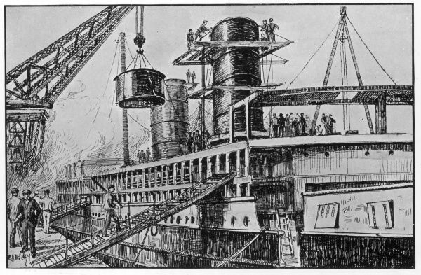 Erecting the funnels of a steamship in a British shipyard