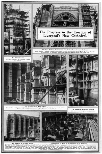 Page from the Sphere magazine showing stages in building Liverpool Cathdral which was designed by Giles Gilbert Scott
