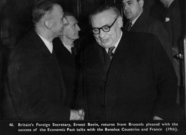 British Foreign Secretary, Ernest Bevin, returning from Brussels after the Economic Pact talks in Brussels with Benelux Countries and France. 1948