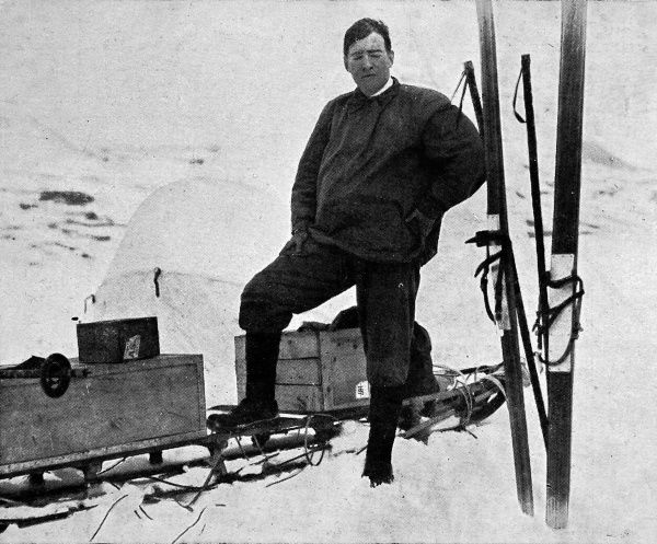 Sir Ernest Shackleton, dressed in kit suited to Antarctic conditions prior to his trans-Antarctic expedition in 1914