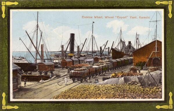 Erskine Wharf - Wheat Export Yard, Karachi, Pakistan (still India at this stage). Date: circa 1909