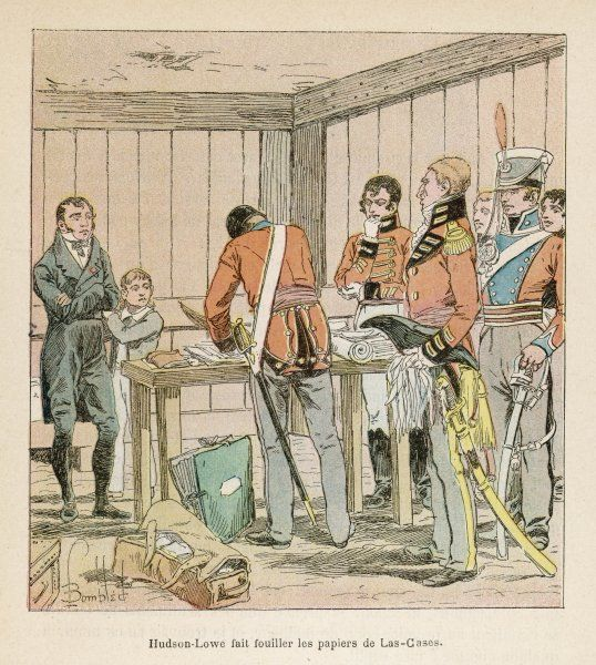 The Governor of Saint Helena, Hudson Lowe, searches the papers of Napoleon's secretary, the comte de Las Casas, hoping to find escape plans. He finds none