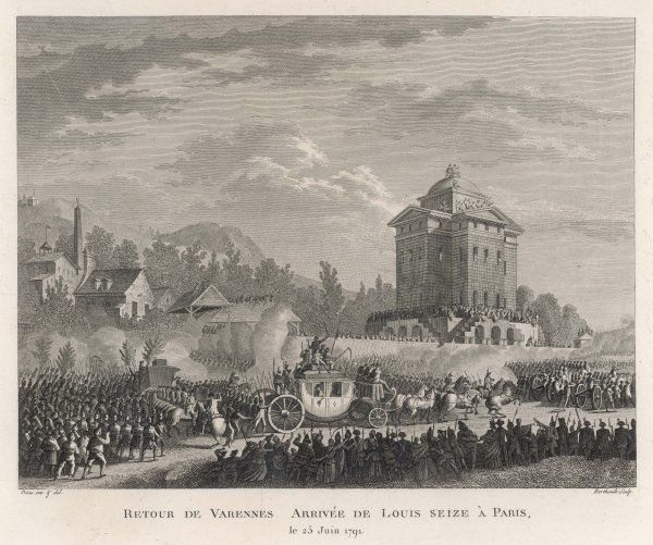 Stopped at Varennes, Louis XVI and his party are brought back to Paris by the Barriere de l'Etoile ; in the Champs Elysees, the crowd watches in reproachful silence