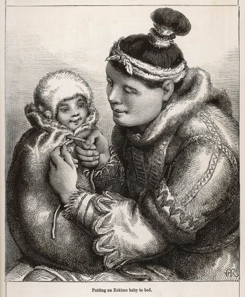A mother putting a Eskimo baby to bed