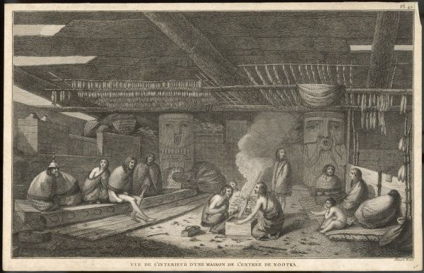 People of Nootka Sound, British Columbia (Canada) in their home : cured fish hang from the roof and more are being smoked. Cook visited them in 1778