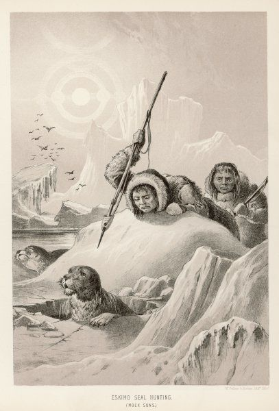 Eskimos on foot hunting seals
