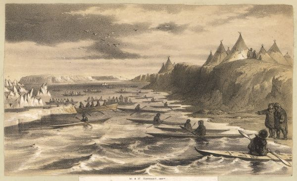 An encounter between explorers and eskimos at Cape Bathurst, Canada. Date: early 19th century