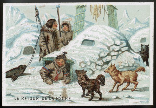 Eskimos returning home after a fishing expedition