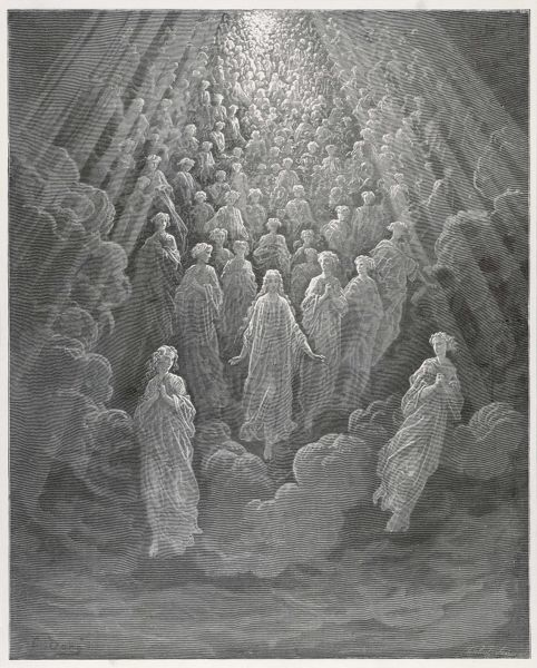 A huge host of angels descend through the clouds in Paradise