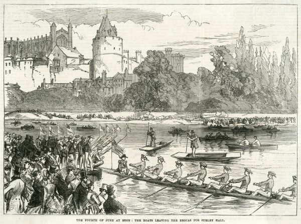 The Fourth of June at Eton: the boats leaving the Brocas for Surley Hall