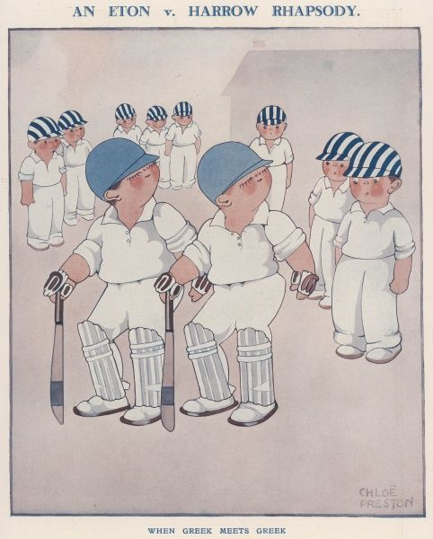 Humorous illustration by Chloe Preston showing a group of schoolboy cricketers