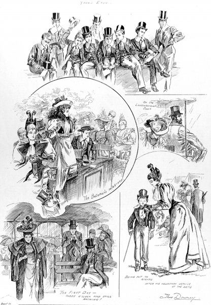 Engraving showing a number of scenes at the Eton vs. Harrow cricket match, held at Lords Cricket Ground, 1894. At the top can be seen Eton schoolboys; at middle left, a group of spectators viewing the game from on top of their carriage; at bottom left