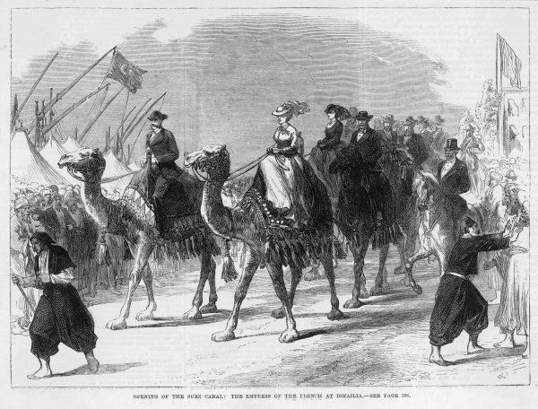 The French Empress Eugenie attends the opening at Ismalia, riding on a camel