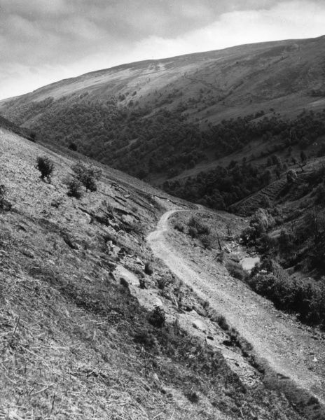 Eunant Pass, to Vyrnwy, from Bwlch y Groes, Montgomeryshire, North Wales. Date: 1960s