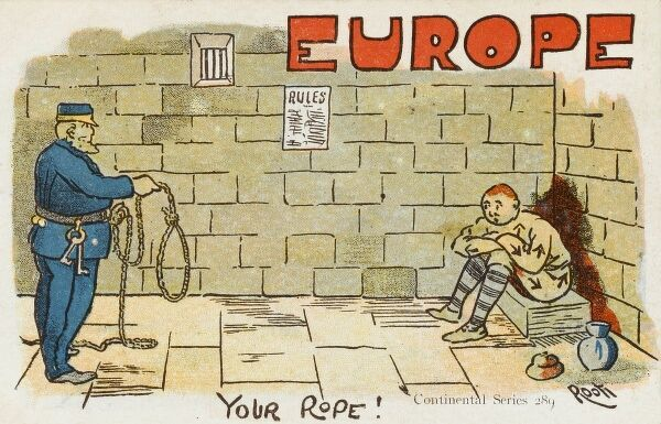 Pre World War One political cartoon attacking Europe - A prison guard offers Europe, in prisoner's fatigues, a metaphorical rope