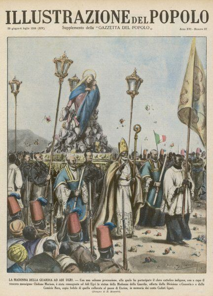 The Italians, having conquered Ethiopia, bestow the benefits of European culture, such as the trappings of Roman Catholicism