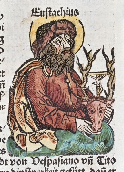 Eustachius, patron saint of hunters.vColoured woodcut. Date