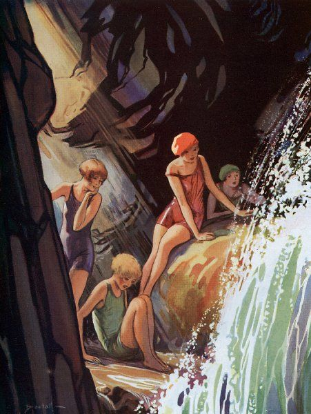A scene beside a waterfall of four girls in their bathing costumes. The girls are watching the waterfall, prehaps resting after swimming. Alfred Bestall (1892-1986) is best-known as the artist who drew Rupert Bear for thirty years. Previous to this