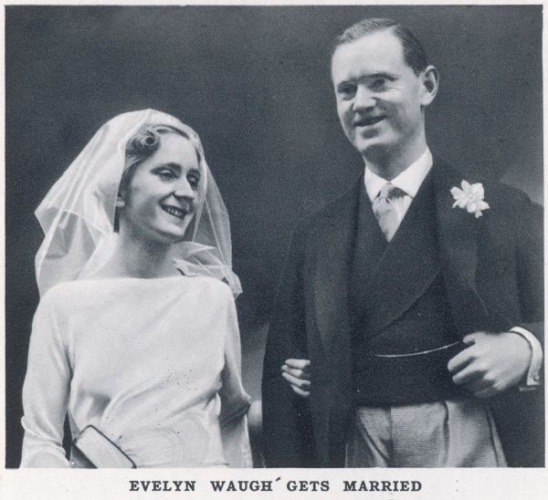 Photograph of English novelist and satirist, Evelyn Waugh (1903 -1966) on his marriage to Laura Herbert, which took place at the Church of the Assumption Warwick Street, London