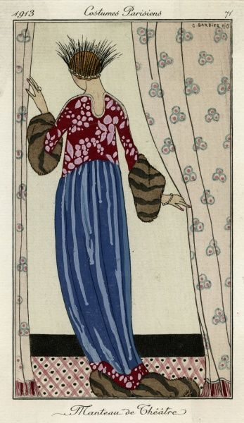 Wonderfully exotic theatre coat using 2 fabrics - a plain blue & a red & white floral design. The cuffs & hem are trimmed in fur. N.B the unusual feather headdress. Date: 1913