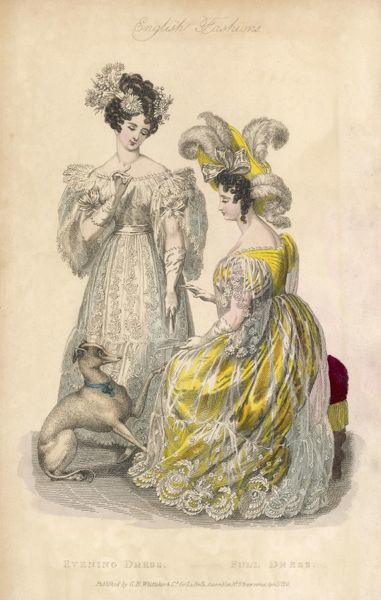 Two ladies, one in EVENING DRESS and her companion in a BALL DRESS hope that their dog won't do anything disastrous to their gowns... that amazing plumed hat is out of its reach