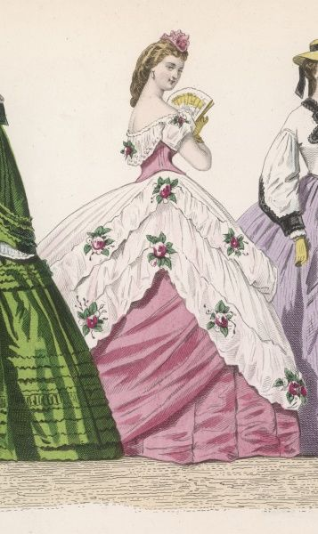 Coloured skirt & bodice; corsage off the shoulder, pointed waist back & front & a doule skirt. White bertha & overskirt caught up at the sides & trimmed with roses