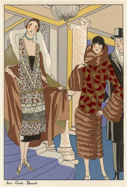Two ladies in evening clothes - one courtesy of Molyneux, her companion of Philippe et Gaston