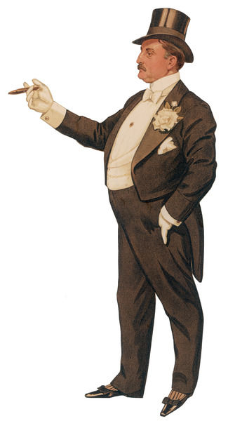 Cigar smoking gentleman in a black tail-coat & trousers, white waistcoat, bowtie & gloves, top hat & leather pumps. A large gardenia graces his buttonhole
