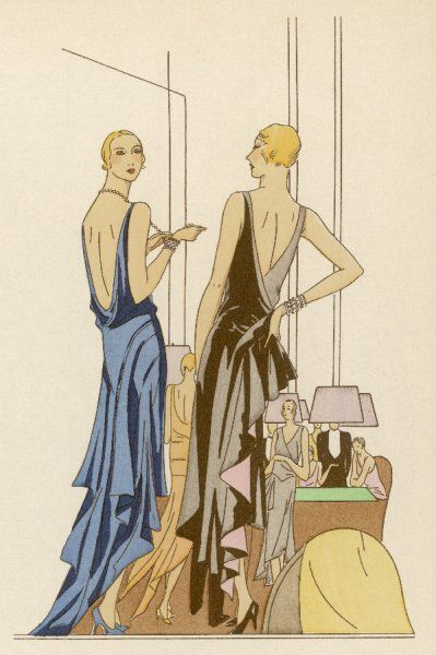 In a hotel lobby two ladies display their shoulder-blades, one in a satin crepe dress by Douillet-Doucet, the other in a chiffon creation by Drecoll- Beer