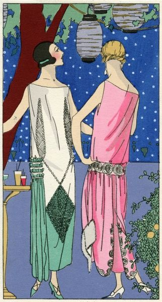 Two fashionable ladies wearing boat neckline evening dresses. On the left, a white crepe dress encrusted with pearls with a kite shaped design and ruffle to the side, by Philippe et Gaston. On the right, a pink tubular dress with belt around the hips