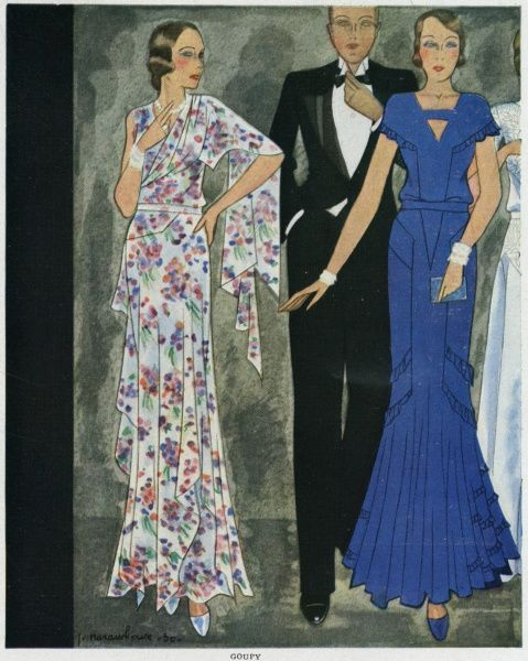 Two evening dresses by Goupy: one in dark blue has a gored skirt; the other is in a diaphanous, floral print