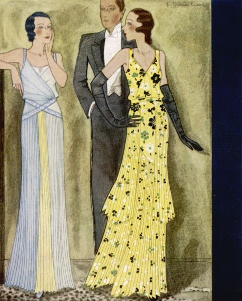 Two evening dresses by Maggy Rouff with finely pleated skirts; one in a yellow floral print, the other in pale blue and yellow
