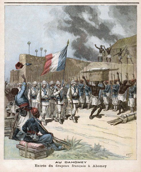 The French tricouleur is borne proudly into the smoking city of Abomey, Dahomey - 'Honneur aux braves soldats ! Vive la France !' Date: 1892