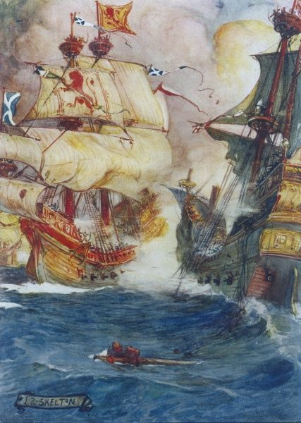 "Scottish hero Sir Andrew Wood defeats English insurgents in his ships ""The Yellow Carvel"" and ""The Flower"". The English vessels were in the Firth of Forth to raid the area. Date: circa 1510"