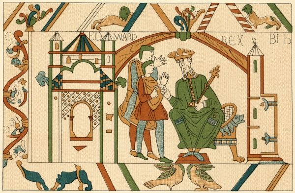 King Edward the Confessor sends Harold, earl of Wessex, to confirm to William, duke of Normandy, that he will succeed him on the English throne