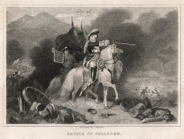 A scene from the Battle of Culloden - the Duke of Cumberland in action on his white horse