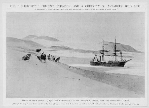 The 'Discovery' frozen in during the Scott, Shackleton and Wilson exploration of the Antarctic