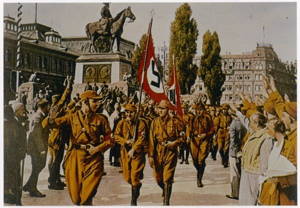 HORST WESSEL S A man, and martyr to the cause, marching at Nuremberg rally in 1929