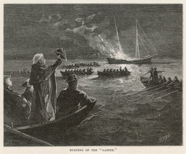 The 'Gaspee' is burned by rebels off Rhode Island