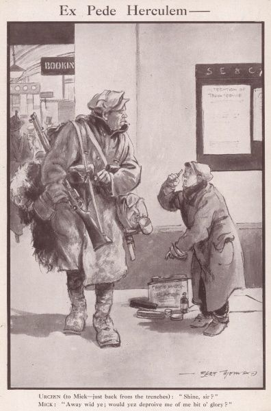 A cynical Irish soldier returning home on leave from the Front refuses a shoe shine boy, preferring instead to keep the mud on his boots as a symbol of honour