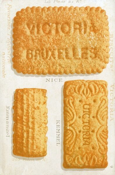 Examples from the Victoria Biscuit Company, Brussels, Belgium. Date: circa 1909