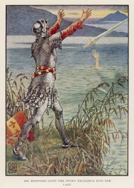Sir Bedevere casts the sword Excalibur back into the lake