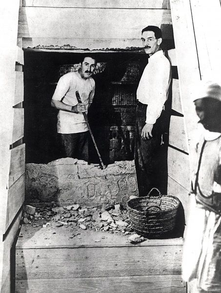 The photograph show the second stage of entry into the sealed chamber of the only intact shrine of a pharaoh ever found