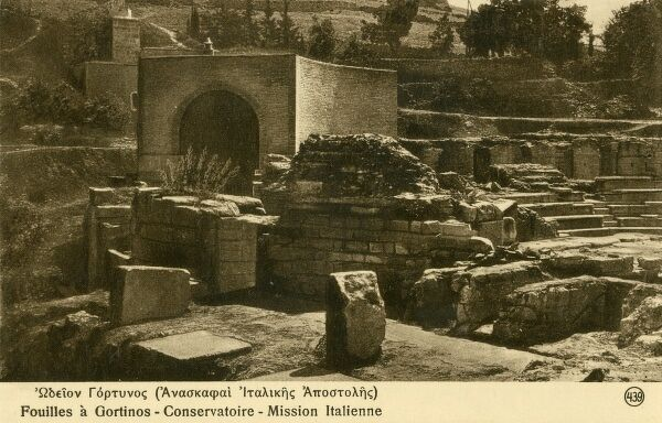 Gortinos used to be Crete's capital during the Roman times. Photograph of the Italian archaeological excavations at Gortinos