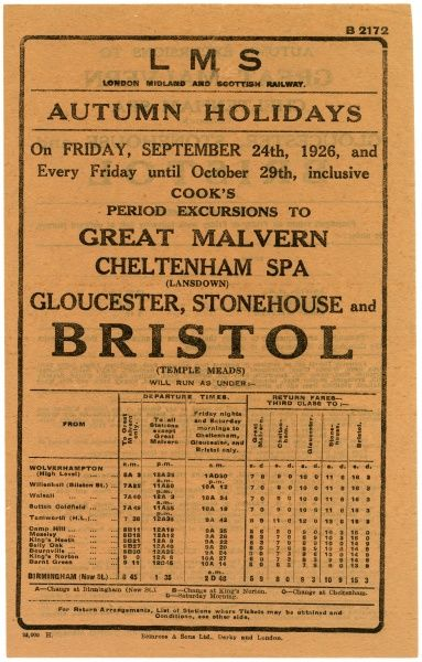 Cook's announcement for excursions to Malvern, Cheltenham and Bristol, from Wolverhampton or Birmingham