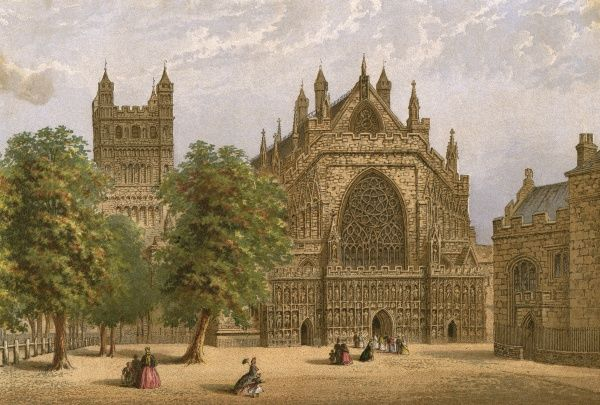 Exeter, Devon: the cathedral Date: 1876