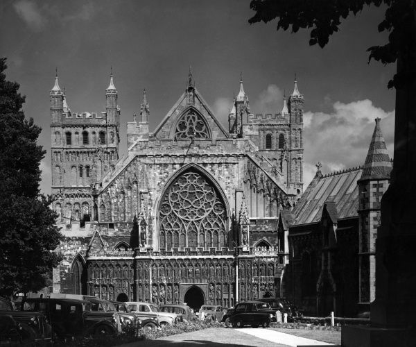 A fine view of Exeter Cathedral, Devon, England. Date: 1950s